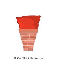 Bag Santa Claus stuck in chimney. Red Christmas sack in smokestack