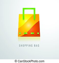 bag shopping colour gradation Yellow. orange. red. modern design vector illustration. on a White Background. Icon. logo. Symbol.