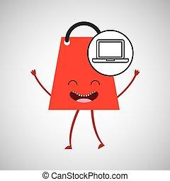 bag shopping concept laptop commerce design