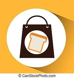 bag shopping food icon sliced bread