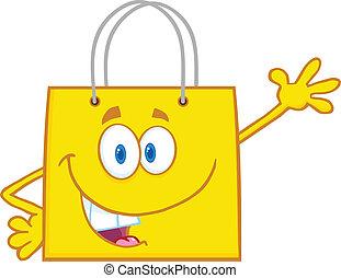 bag, smil, indkøb, gul