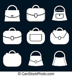 Bag vector icons set, fashion theme