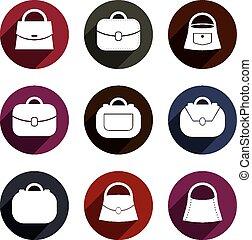 Bag vector icons set, fashion theme symbols collection.