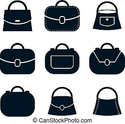 Bag vector icons set, symbols