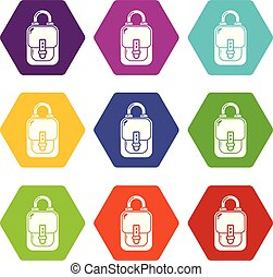 Bag vintage icons set 9 vector