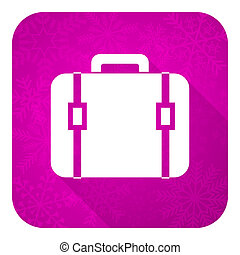 bag violet flat icon, christmas button, luggage sign