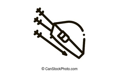 Bag With Archery Arrows Icon Animation. black Package Container For Carrying And Storing Arrows animated icon on white background