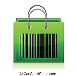 Bag with barcode illustration desig