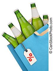 Bag with beer bottles