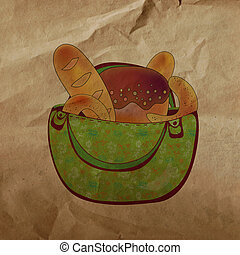 Bag with bread eco style on the paper