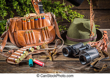 Bag with bullets in a hunting lodge