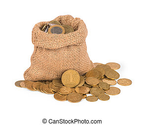 Bag with coins on white background