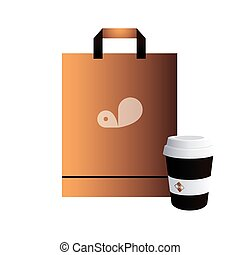 bag with corporate image to take away coffee vector ...