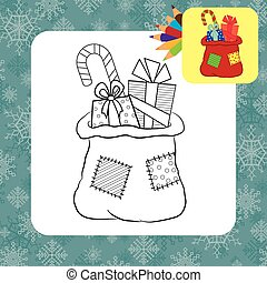 Bag with gifts. Coloring page