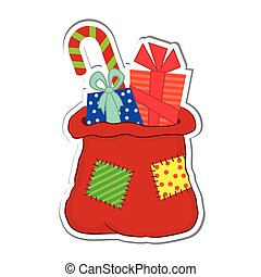 Bag with gifts. Sticker