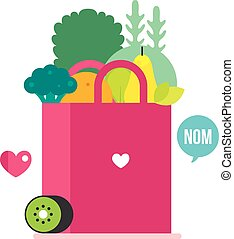 Bag with healthy food Vegetables Fruits and greens