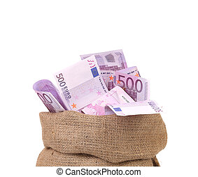 Bag with many euro banknotes. Isolated on a white...