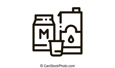 bag with milk Icon Animation. black bag with milk animated icon on white background