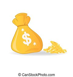 bag with money, vector illustration