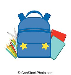 Bag with school supplies. Back to school