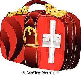 bag with switzerland flag design on white background