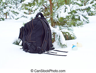 Bag with toys in the winter wood