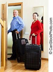 bagaż, para, dojrzały, dom