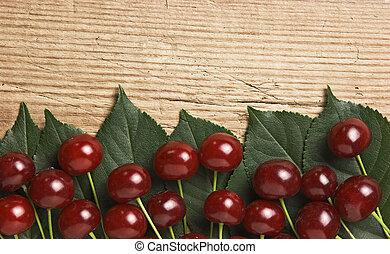 baga, cereja, com, folhas, ligado, madeira, fundo