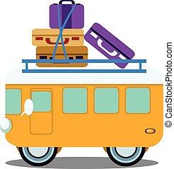 bagage, autobus, illustration, vecteur, tas, vue côté