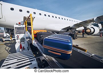 bagage, avion, chargement