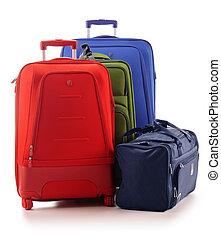 bagage, bestå, av, stort, suitcases, isolerat, vita