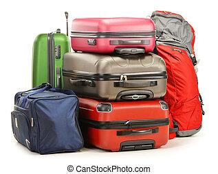 bagage, bestå, av, stort, suitcases, ryggsäck, och, resa...