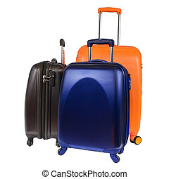 bagage, bestå, av, tre, polycarbonate, suitcases, isolerat, vita