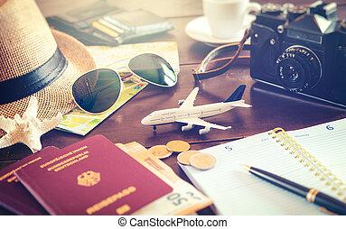 bagage, bois, voyage, préparé, cartes, accessoires, cout, passeports, table, voyage