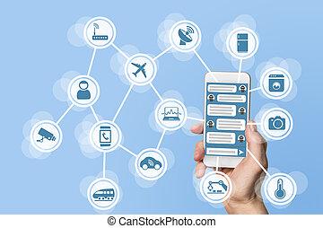 bagage, chatbot, begrepp, (iot), internet