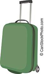 bagage, classieke, travel., plastic, koffer, groene, v, lucht, of, straat