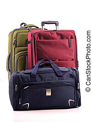 bagage, consister, de, grand, valises, isolé, blanc