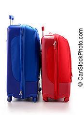 bagage, consister, de, grand, valises, isolé, blanc