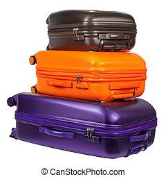 bagage, consister, de, trois, polycarbonate, valises, isolé, blanc