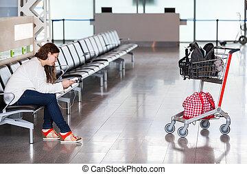 bagage, dépenser, hand-cart, salon, aéroport, temps