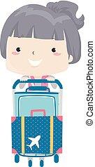 bagage, flicka, kärra, illustration, unge