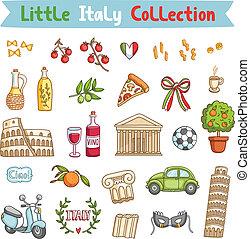 bagage, liten italien, kollektion, italiensk
