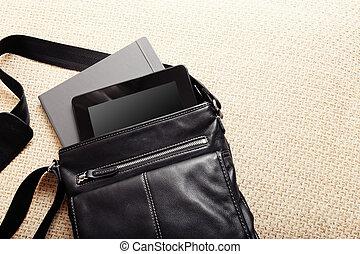 bagage, nymodig, accessories., väska, öppna, man