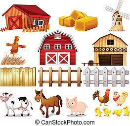 bagage, och, djuren, grunda, hos, den, lantgård