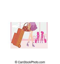 bagage, resa, flicka