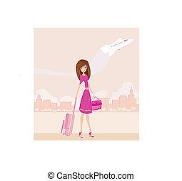 bagage, resa, flicka, skönhet