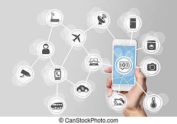 bagage, smartphone, (iot), internet