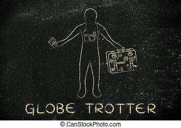 bagage, tekst, globe trotter, fototoestel, reiziger,...