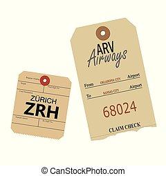 bagage, vendange, étiquettes, -, illustration, vecteur
