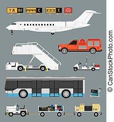 bagagem, aeroporto, jogo, carreta